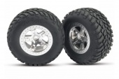 фото Tires & wheels, assembled, glued (SCT satin chrome, beadlock style wheels, SCT off-road racing t TRA5875