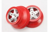 фото Wheels, SCT satin chrome, red beadlock style, dual profile (2.2'' outer, 3.0'' i TRA5872A