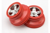 фото Wheels, SCT satin chrome, red beadlock style, dual profile (2.2'' outer, 3.0'' i TRA5874A