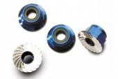 фото Nuts, aluminum, flanged, serrated (4mm) (blue-anodized) (4)