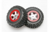 фото Tires and wheels, assembled, glued (SCT satin chrome wheels, red beadlock style, SCT off-road racing