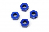 фото Wheel adaptors, 12mm hex, 6061-T6 aluminum (blue-anodized) (4)/ screw pins (4)/ drill bit, 0.25 inch