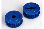 фото Pulleys, 20-groove (middle)(blue-anodized, light-weight aluminum) (2)/ flanges (2)