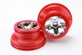 "фото Wheels, SCT chrome, red beadlock style, dual profile (2.2"" outer, 3.0"" inner) (2WD front) (2)"